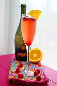 Cranberry Orange Prosecco Cocktail  http://www.thecomfortofcooking.com/2012/12/cranberry-orange-prosecco-cocktail.html