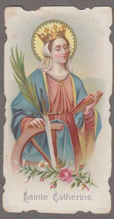 SAINT CATHERINE OF ALEXANDRIA  antiquel holy card