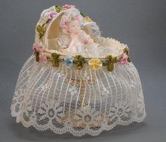 Baby Basinet w Hand Made Miniature Baby Keepsake Baby Shower Gift Idea by NatalieOrigStudio