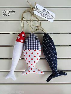 Fische maritim 3-tlg. aus Stoff rot/blau/weiß zu Landhaus,Meer,Urlaub,See,Tilda