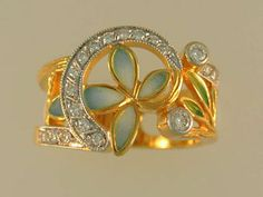 Masriera ring 18K 1/4 carat total weght 20-diamond and enamel Blue Flower