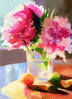 Art Print of Original oil painting of, PEONY BLOSSOMS, soft blues and pinks…