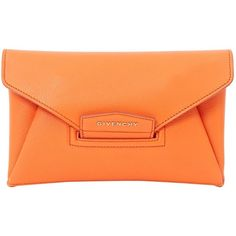 Pre-owned Givenchy Leather Clutch Bag ($559) ❤ liked on Polyvore featuring bags, handbags, clutches, orange, women bags clutch bags, leather purses, orange leather handbag, orange leather purse, red leather handbags and real leather purses