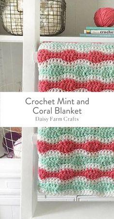 Free Pattern - Crochet Mint and Coral Blanket