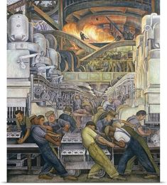 Detroit Industry Murals Production and Manufacture of Engine and Transmission, Detroit Industry, North Wall Automotive Panel, detail Diego Rivera. Diego Rivera Art, Diego Rivera Frida Kahlo, Frida E Diego, Painting Prints, Wall Art Prints, Arte Popular, Mexican Art, Art Mural, Public Art