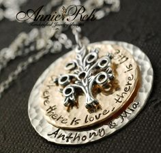 Hand Stamped Necklace Sterling Silver Tree Family Tree by AnnieReh, $110.00