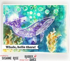 Susanne Rose Designs: New Stamps and Sale over at Rubber Dance. Greeting card with Embossing Resist and Brushos. WOW! Embossing Powder.