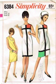 1960's Mondrian Sheath Dress Sleeveless Color Block Simplicity 6384 Sewing Pattern by PeoplePackages