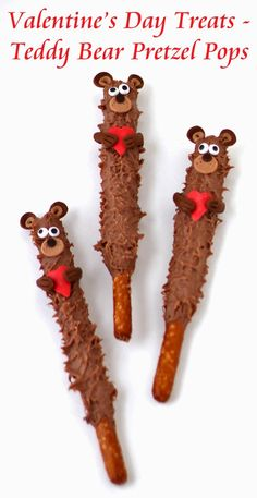Valentine's Day Pretzel Pops - Cute fuzzy chocolate teddy bears holding hearts will warm the hearts of kids and adults. Tutorial at HungryHappenings.com