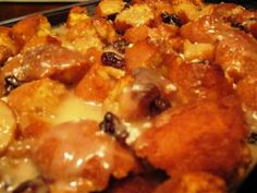 Cake Donut Bread Pudding with Rum Sauce