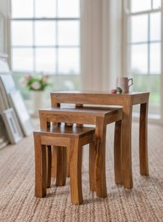 Cool little cluster of wooden side tables. Contemporary Nest of Tables Side tables & trays by Myakka Ltd