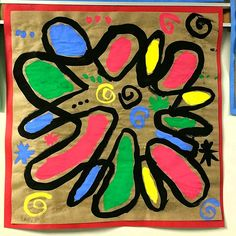 Some of my favorite Joan Miro paintings are the ones with many shapes overlapping and creating new shapes. We looked at several of his wor. 3rd Grade Art, Third Grade, Painting Lessons, Art Lessons, Joan Miro Paintings, Painted Boards, Shape Design, Art Plastique, Elementary Art