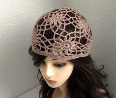 Tan Flower Crochet Fine Cotton Hat  Ready to Ship by MyMayaMade, $28.99