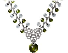 CARTIER. {Close up} Necklace - white gold, one 42.18-carat cabochon-cut peridot, peridot beads, milky quartz beads, black lacquer, brilliant-cut diamonds. #Cartier #CartierMagicien #HauteJoaillerie #FineJewelry #Peridot #Quartz #Diamond