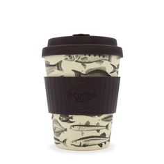 The Toolondo Fishman Ecoffee Cup is an environmentally responsible reusable Coffee Cup made with natural bamboo fibre. No Excuse for Single Use. Cappuccino Cups, Coffee Cups, Coffee Gift Baskets, Travel Store, Gallery Of Modern Art, Reusable Coffee Cup, No Plastic, Fish Design, Latex Free