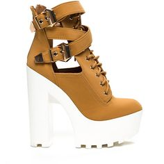 Strapped In Ridged Platform Booties CAMEL ($19) ❤ liked on Polyvore featuring shoes, boots, ankle booties, tan, strappy booties, tan lace up booties, chunky heel booties, lace up boots and lace up booties