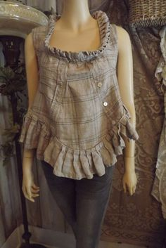 Lagenlook Rustic Linen Cropped Blouse Ruffled Peasant Chic Upcycled Size