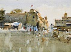 Watercolor by Vijay Achrecar. Watercolor Landscape, Watercolor Paintings, Watercolours, Indian Paintbrush, Street Painting, Indian Artist, Urban Sketching, Urban Landscape, Cool Art