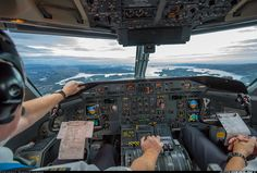 The view from the flight deck of a Dash 8 from Widerøe on approach to Bergen.