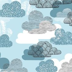 Cloud 9 - Eloise Renouf - Bark and Branch - Passing Clouds in Blue Textile Patterns, Print Patterns, Textiles, Pattern Designs, Art Graphique, Cloud 9, Illustrations, Cool Fabric, Graphic Design Illustration