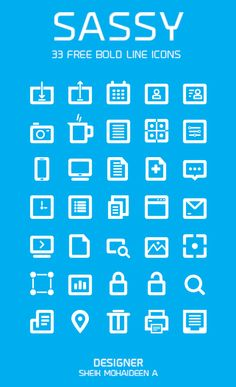35 Free Bold Line Icons Set Psd #icon #icons #freebies #psd