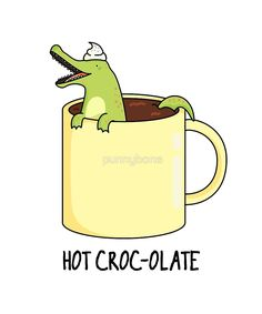 'Hot Croc'o'olate Animal Pun' Sticker by punnybone Cute Quotes, Funny Quotes, Funny Memes, Funny Jockes, Cute Food Drawings, Kawaii Drawings, Animal Puns, Animal Quotes, Funny Food Puns