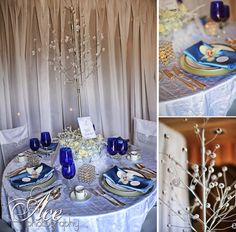 Modern Blue Silver White Centerpiece Centerpieces Place Settings Winter Wedding Reception Photos & Pictures - WeddingWire.com