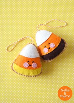 PDF Pattern - Merry Little Trees Sewing Pattern, Christmas Ornament Pattern, Holidays, Kawaii Felt Pattern, Softie Pattern Ornament Pattern, Felt Ornaments Patterns, Felt Patterns, Sewing Patterns, Owl Ornament, Embroidery Patterns, Softies, Butterfly Felt, Candy Corn Crafts