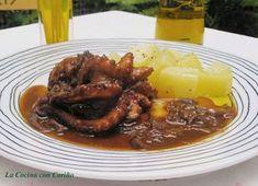 La Cocina con Cariño: PULPITOS EN SALSA AL PkimonOIMENTÓN Octopus, Carne, Tapas, Shrimp, Beef, Fish, Chicken, Recipes, Pop