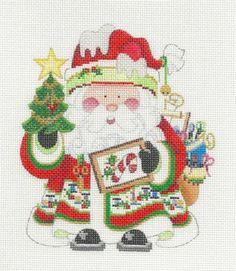 Strictly Christmas Stitching Needlepoint Santa Handpainted HP Needlepoint Canvas   eBay  $60