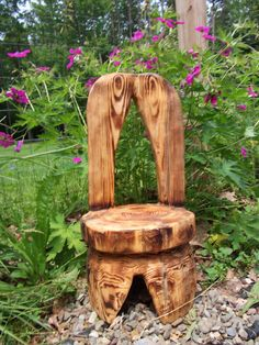 Cute Little Chainsaw Carved Chair by carvnstitch on Etsy, $75.00