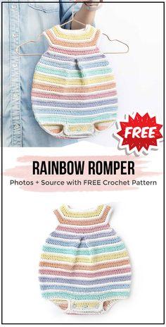Crochet Rainbow Romper free pattern Crochet Rainbow Romper free pattern - easy crochet onesies pattern for beginners Crochet Romper, Crochet Bebe, Crochet Baby Clothes, Crochet For Kids, Easy Crochet, Free Crochet, Rainbow Crochet, Booties Crochet, Crochet Hats