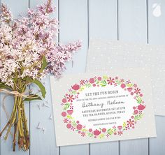 Bridal Shower Invitations, perfect for a garden party or tea party.
