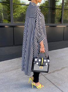 Long Sleeve Striped Dress, Striped Shirt Dress, Shirt Collar Types, Collar Designs, Stripe Print, Black, Style Fashion, Fashion Outfits, Print Print