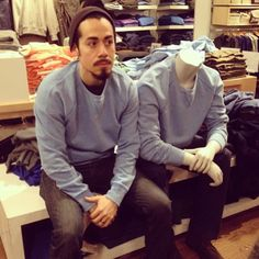 Man Hilariously Dresses Up Like Mannequins While Waiting for Wife to Shop
