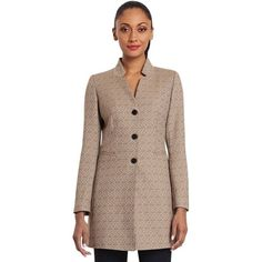 Pre-owned Lafayette 148 New York Trina Jacket Coat ($150) ❤ liked on Polyvore featuring outerwear, coats, none, brown coat and lafayette 148 new york