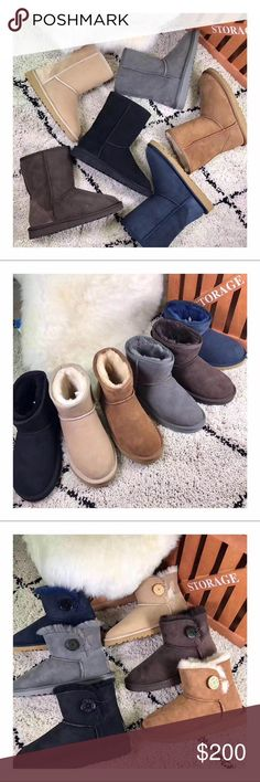 UGGS II 💯Auth Classic & Bailey Button Boots $150P 💯Authentic with original box shipped vis SwissPost (Switzerland); hence, will take 2 weeks or more during holidays. Boxes will slightly be damaged but boots in perfect condition.   B/C of the large box size, it takes up too much space so best to drop ship. LMK if you have any questions.  Prefer ❌ Trade and ❌Low ball offers.   NOTE: listed high to have more flexibility on price drop and negotiation. Feel free to comment&offer opinion…