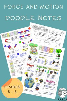 Students LOVE doodling! This is a great easy way to reinforce the concepts. Perfect for consolidation. Science Curriculum, Science Activities, Force And Motion, Middle School Science, Interactive Notebooks, Acorn, Teaching Resources, Students, Doodles