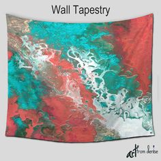 Bohemian Wall Tapestry Hanging Teal gray by ArtFromDeniseDecor