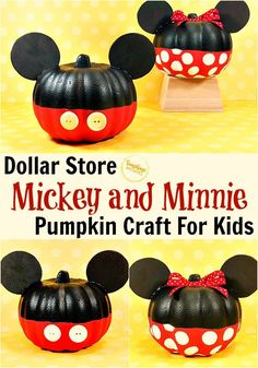 This super cute Mickey and Minnie Pumpkin Craft for Kids uses Dollar Store foam pumpkins. It is really so adorable and fun to make this Halloween!Don't you just love all the fun treasures you can find at the Dollar Store? With a little creativity and a very little amount of money, you can create super cute and fun craft projects with your kids. Disney Crafts for Kids #crafts #disneycrafts #fallcrafts #halloweencrafts #kidcrafts