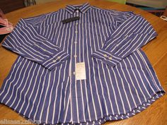 Mens Tommy Hilfiger S blue long sleeve shirt stripe heritage Poplin 80's two ply