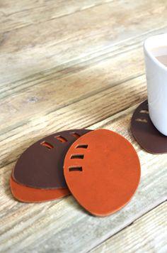 Leather Football Coasters - set of 4 handmade coasters