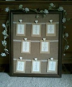 Table planner- wedding, lace, hessian, shabby chic