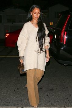 Rihanna's Street Style in Los Angeles and the Oversize Fall Sweater Trend - Vogue