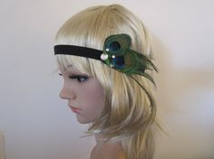 Peacock feather 1920s flapper style headband by PeacockandLotus, $15.00