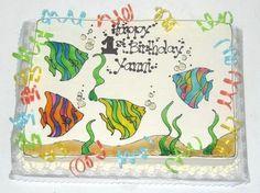 Square Fish Birthday Cake Designs