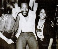 Marvin being congratulated by the Payne sisters, Freda and Scherrie on his 40th birthday party, April 2, 1979