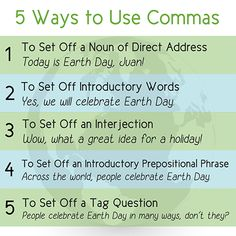 """Five ways to use commas' poster"