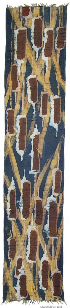 Hand Painted Silk Scarf - Bulrushes in Browns Navy and Golds - Thick Dupioni Silk Mans Scarf (approx. 12x60 inches) by Laura Elderton www.etsy.com/shop/lauraelderton