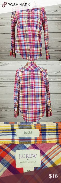 J. Crew Boy Fit plaid top J Crew Boy Fit rainbow plaid top.  Pullover with button up top half, long sleeves with button cuffs. J. Crew Tops Blouses